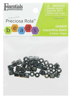 Essentials By Leisure Arts Bead Preciosa Rola 6.2mm Opaque Travertine Black 10gm