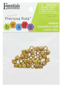 Essentials By Leisure Arts Bead Preciosa Rola 6.2mm Opaque Travertine Chalk 10gm