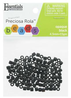 Essentials By Leisure Arts Bead Preciosa Rola 4.5mm Opaque Black 15gm
