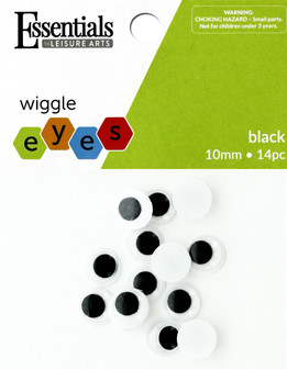 Essentials By Leisure Arts Eye Paste On Movable 10mm Black 14pc