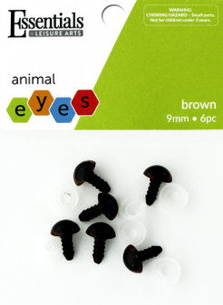 Essentials By Leisure Arts Eye Animal 9mm With Washer Brown 6pc