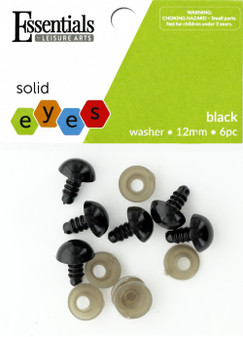 Essentials By Leisure Arts Eye Solid 12mm With Washer Black 6pc