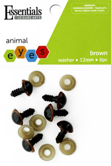 Essentials By Leisure Arts Eye Animal 12mm With Washer Brown 6pc