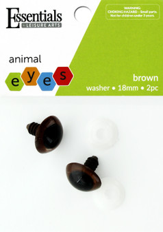 Essentials By Leisure Arts Eye Animal 18mm With Washer Brown 2pc