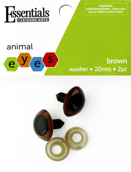 Essentials By Leisure Arts Eye Animal 20mm With Washer Brown 2pc