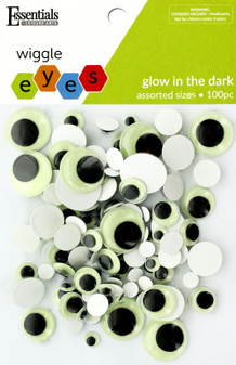 Essentials By Leisure Arts Eye Paste On Moveable Assorted Glow in Dark 100pc