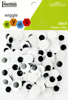 Essentials By Leisure Arts Eye Paste On Moveable 15mm Black 96pc