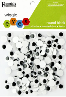 Essentials By Leisure Arts Eye Sticky Back Round Assorted Sizes Black 160pc