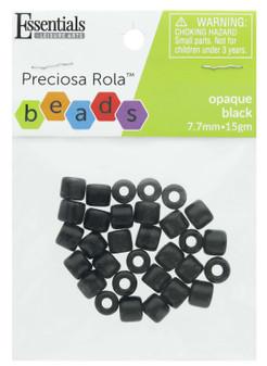 Essentials By Leisure Arts Bead Preciosa Rola 7.7mm Opaque Black 15gm