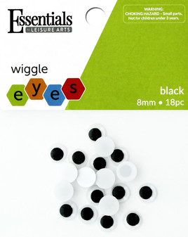Essentials By Leisure Arts Eye Paste On Movable 8mm Black 18pc