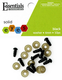Essentials By Leisure Arts Eye Solid 6mm With Washer Black 10pc