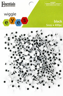 Essentials By Leisure Arts Eye Paste On Moveable 5mm Black 400pc