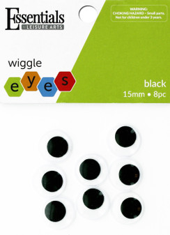 Essentials By Leisure Arts Eye Paste On Moveable 15mm Black 8pc