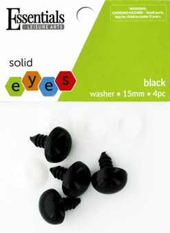 Essentials By Leisure Arts Eye Solid 15mm With Washer Black 4pc