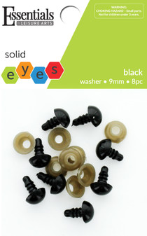 Essentials By Leisure Arts Eye Solid 9mm With Washer Black 8pc