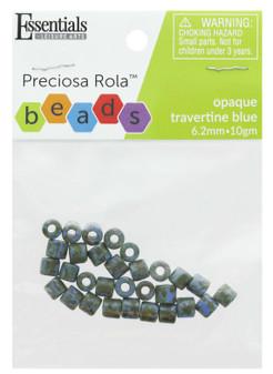 Essentials By Leisure Arts Bead Preciosa Rola 6.2mm Opaque Travertine Blue 10gm