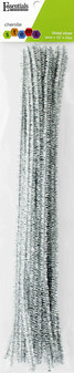 """Essentials By Leisure Arts Chenille 12"""" Stem 6mm Tinsel Silver 25pc"""