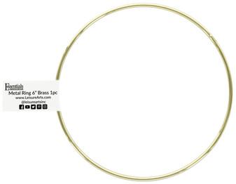 "Essentials By Leisure Arts Metal Ring 6"" Brass"