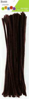 """Essentials By Leisure Arts Chenille 12"""" Stem 6mm Dark Brown 100pc"""