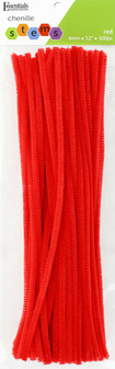 """Essentials By Leisure Arts Chenille 12"""" Stem 6mm Red 100pc"""