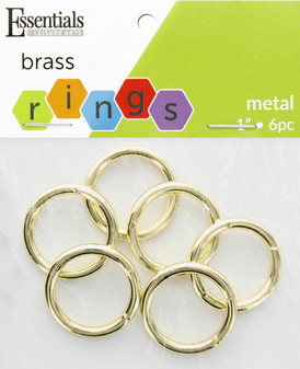 """Essentials By Leisure Arts Metal Ring 1"""" Brass 6pc"""