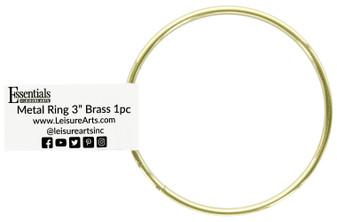 "Essentials By Leisure Arts Metal Ring 3"" Brass"