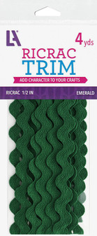 """EBL Ric Rac 1/2"""" 4yd Emerald"""