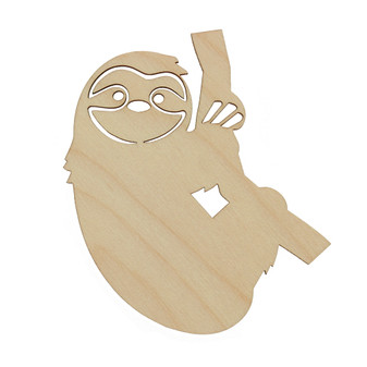 Essentials By Leisure Arts Wood Shape Flat Sloth 24pc