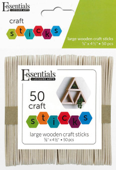 "Essentials By Leisure Arts Wood Craft Sticks Large .63""x 4.5"" 50pc"