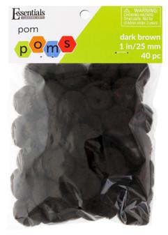 """Essentials By Leisure Arts Pom Pom 1"""" Dark Brown 40pc"""