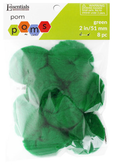 "Essentials By Leisure Arts Pom Pom 2"" Green 8pc"