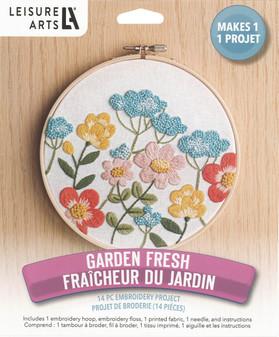 "Leisure Arts Kit Mini Maker Embr 6"" Garden Fresh"