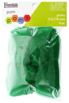 "Essentials By Leisure Arts Pom Pom 3"" Green 4pc"