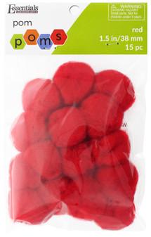 "Essentials By Leisure Arts Pom Pom 1.5"" Red 15pc"