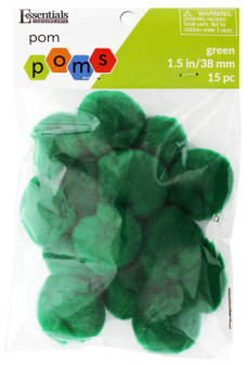 "Essentials By Leisure Arts Pom Pom 1.5"" Green 15pc"