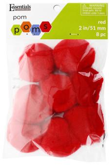 "Essentials By Leisure Arts Pom Pom 2"" Red 8pc"