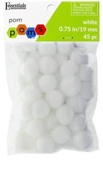 "Essentials By Leisure Arts Pom Pom .75"" White 45pc"