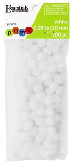 Essentials By Leisure Arts Pom Pom 10mm White 100pc