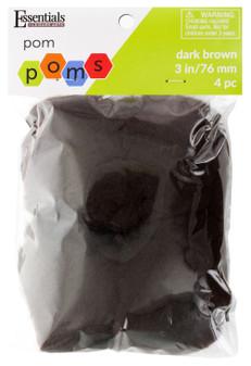 """Essentials By Leisure Arts Pom Pom 3"""" Dark Brown 4pc"""