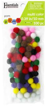 Essentials By Leisure Arts Pom Pom 10mm Multi 100pc