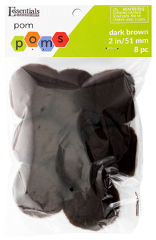 """Essentials By Leisure Arts Pom Pom 2"""" Dark Brown 8pc"""