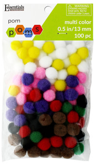 "Essentials By Leisure Arts Pom Pom .5"" Multi 100pc"