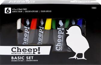 Cheep! Acrylic Paint Set 4oz Basic 6 Color