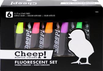 Cheep! Acrylic Paint Set 2.5oz Fluorescent 6 Color
