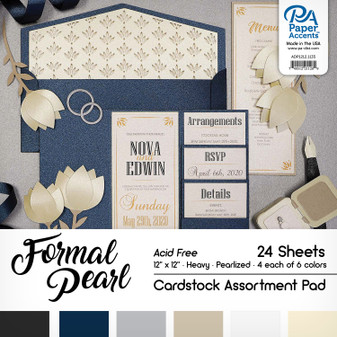 """Paper Accents Cardstock Pad 12""""x 12"""" Formal Pearl Assortment 24pc"""
