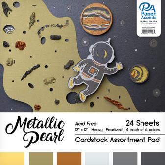 "Paper Accents Cardstock Pad 12""x 12"" Metallic Pearl Assortment 24pc"