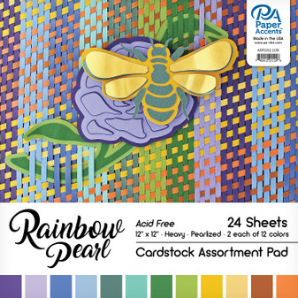 """Paper Accents Cardstock Pad 12""""x 12"""" Rainbow Pearlized Assortment 24pc"""