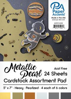"Paper Accents Cardstock Pad 5""x 7"" Metallic Pearl Assortment 24pc"