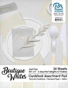"Paper Accents Cardstock Pad 8.5""x 11"" Boutique Whites Assortment 24pc"