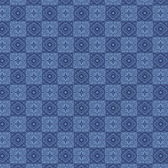 Emma & Mila Tiles Blue 8 yard Cotton fabric by the bolt
